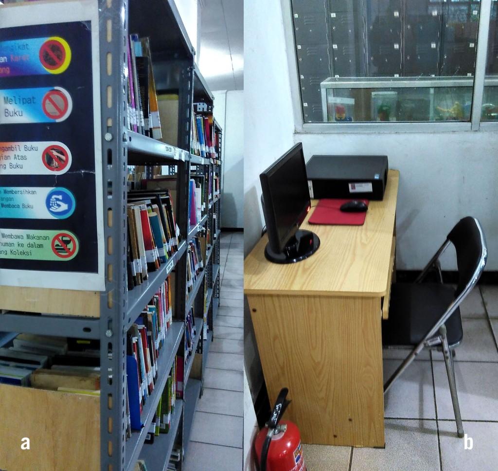(a) rak besi dengan banyak koleksi; (b) komputer di sebelah kanan